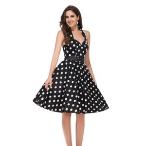 Sleeveless Polka Dot Cotton Vintage Swing Dress